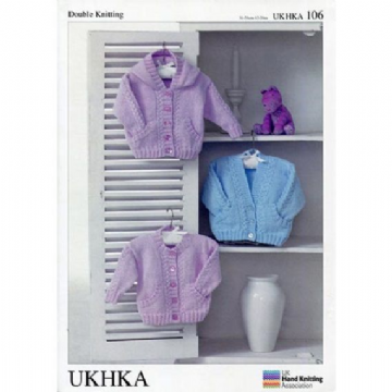"DK Baby Cardigans ,Hooded Cardigan Knitting Pattern (12""- 20"") UKHKA 106"